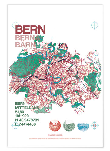 Premiumposter City motif Bern card