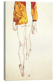 Canvastavla  Standing half-nude with a brown shirt - Egon Schiele