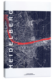 Canvastavla  Heidelberg map midnight - campus graphics
