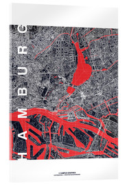 Akrylglastavla  Hamburg city map midnight - campus graphics
