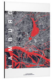 Aluminiumtavla  Hamburg city map midnight - campus graphics