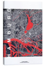 Canvastavla  Hamburg city map midnight - campus graphics