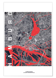 Premiumposter  Hamburg city map midnight - campus graphics