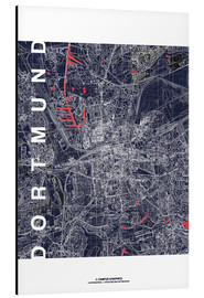 Aluminiumtavla  City of Dortmund Map midnight - campus graphics