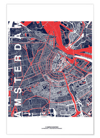 Premiumposter City of Amsterdam Map midnight