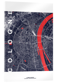 Akrylglastavla  City of Cologne Map midnight - campus graphics