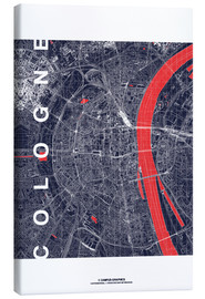 Canvastavla  City of Cologne Map midnight - campus graphics