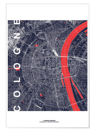 Premiumposter  City of Cologne Map midnight - campus graphics