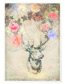 Premiumposter Deer in roses