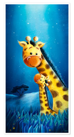 Poster Giraffe mother with child