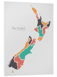 PVC-tavla  New Zealand map modern abstract with round shapes - Ingo Menhard