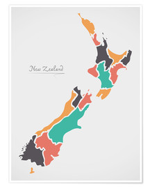 Premiumposter New Zealand map modern abstract with round shapes
