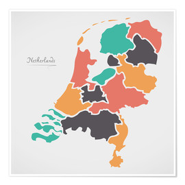 Premiumposter  Netherlands map modern abstract with round shapes - Ingo Menhard