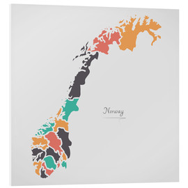 PVC-tavla  Norway map modern abstract with round shapes - Ingo Menhard