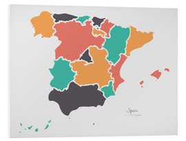 PVC-tavla  Spain map modern abstract with round shapes - Ingo Menhard