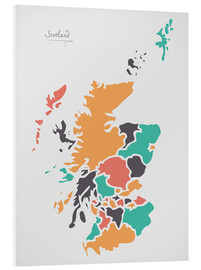 PVC-tavla  Scotland map modern abstract with round shapes - Ingo Menhard