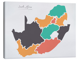 Canvastavla  South Africa map modern abstract with round shapes - Ingo Menhard