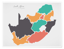 Premiumposter  South Africa map modern abstract with round shapes - Ingo Menhard