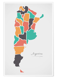 Premiumposter Argentina map modern abstract with round shapes