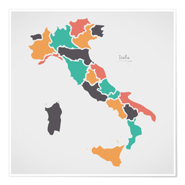 Premiumposter Italy map modern abstract with round shapes