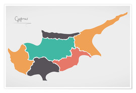 Premiumposter  Cyprus map modern abstract with round shapes - Ingo Menhard