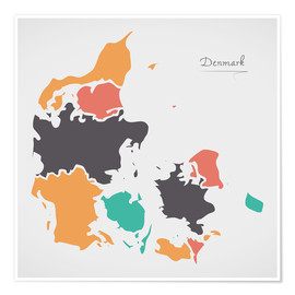Premiumposter  Denmark map modern abstract with round shapes - Ingo Menhard