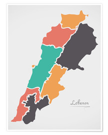 Premiumposter Lebanon map modern abstract with round shapes