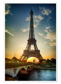 Premiumposter  Eiffel Tower and Pont d'Iena on Seine in Paris