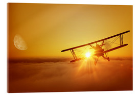 Akrylglastavla  Biplane flies towards the sun