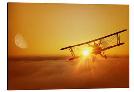 Aluminiumtavla  Biplane flies towards the sun