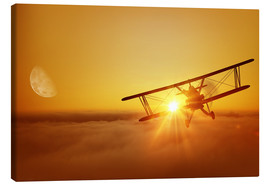 Canvastavla  Biplane flies towards the sun