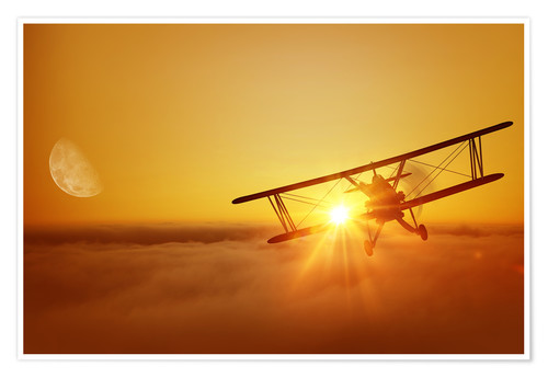 Premiumposter Biplane flies towards the sun