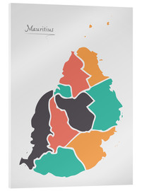 Akrylglastavla  Mauritius map modern abstract with round shapes - Ingo Menhard