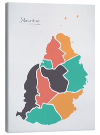Canvastavla  Mauritius map modern abstract with round shapes - Ingo Menhard