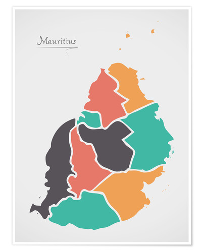 Premiumposter Mauritius map modern abstract with round shapes
