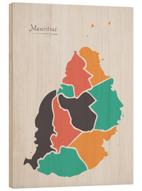 Trätavla  Mauritius map modern abstract with round shapes - Ingo Menhard