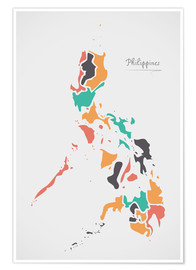 Poster Philippines map modern abstract with round shapes