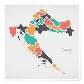 Premiumposter Croatia map modern abstract with round shapes