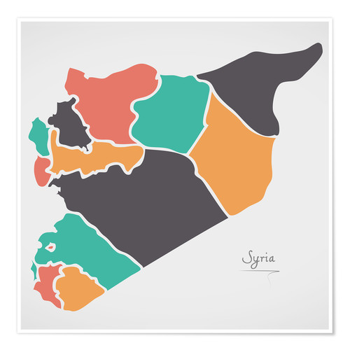 Premiumposter Syria map modern abstract with round shapes