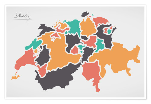 Premiumposter Switzerland map modern abstract with round shapes