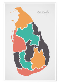 Premiumposter Sri Lanka map modern abstract with round shapes