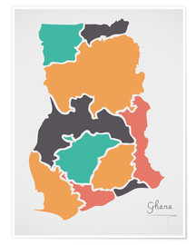 Premiumposter Ghana map modern abstract with round shapes