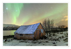 Premiumposter Aurora Borealis on typical Rorbu, Svensby, Norway
