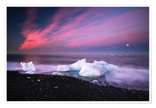 Premiumposter Icebergs on the beach in Iceland