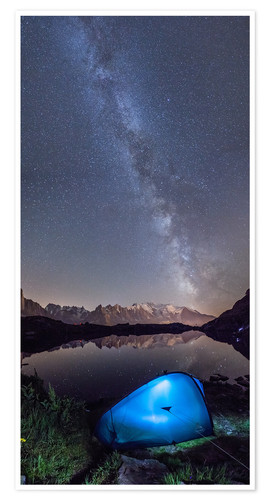 Premiumposter Panoramic of Milky Way on Mont Blanc, France