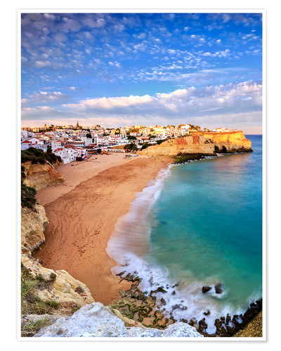 Premiumposter Panoramic of Carvoeiro at sunset, Algarve, Portugal