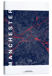 Canvastavla  Manchester Map Midnight Map - campus graphics