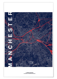 Premiumposter Manchester Map Midnight Map