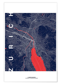 Premiumposter Zurich Map Midnight City