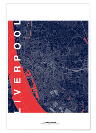 Premiumposter Liverpool Map Midnight City
